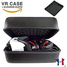 Étui Casque Audio & Réalité Virtuelle, Housse de Luxe pour Protection & Transport de Lunettes VR Oculus Vive Gear Box Compatible, Boîte de Rangement Masque & Accessoire VR/AR + Lingette, Gris Carbone