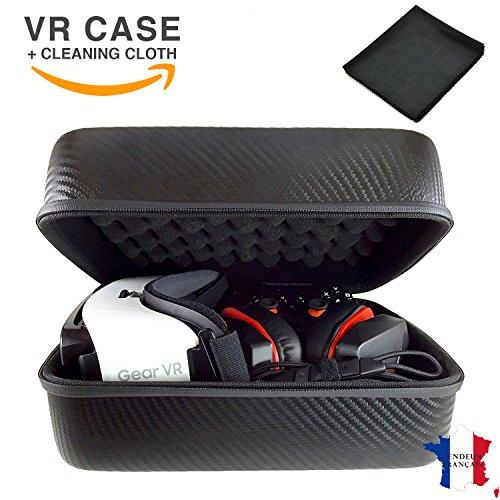 VR Auricular y Accesorios Estuche Premium con Cáscara Espuma - Estuche Rígido de Almacenamiento de Viaje para Gafas y Controladores de Realidad Virtual - Gear Rift Vive Box Compatible - Fibra Carbono Gris