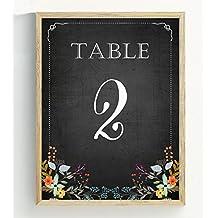 Darling souvenir, lavagna Style 1–12numeri di tavolo nozze lavagna Decor Table Cards (10,2x 15,2cm), Black, 1to12