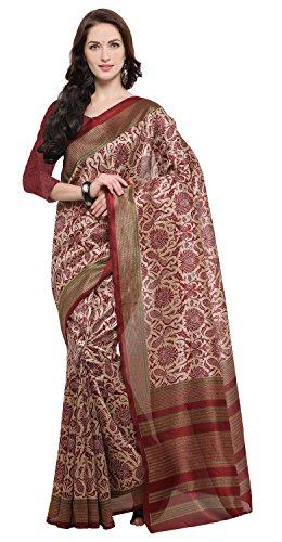 Rajnandini Women's Cream And Maroon Jute Silk Printed Saree