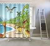 Dinosaurier Der In Den Strand Geht Karikatur Tier Duschvorhang Polyester-Gewebe Wasserdicht Schimmelresistent Duschvorhang 60x72 Zoll