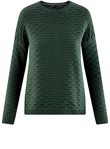 oodji Ultra Damen Lässiger Pullover mit Geometrischem Muster Grün (6E00N)