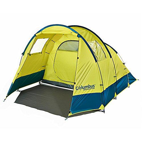 COLUMBUS Ness Tente de Camping pour 4 Personnes Mixte Adulte, Jaune/Bleu, Unique