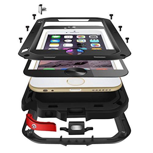 HICASER iPhone 6S Plus Wasserdichte Hülle, Luxus Aluminium Legierung Schutz Metall Armor Case Staubdich Schneedicht Stoßdichte Shockproof Protective Schutzhülle für iPhone 6 Plus/ 6S Plus 5.5-inch Sil Rot