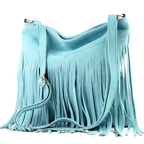 Borsa a mano borsa a tracolla shopping bag donna in vera pelle italiana T02 T145 Hellblau