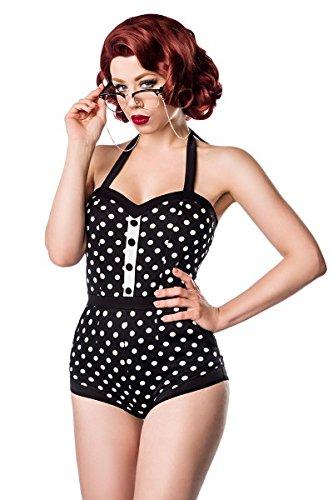 Belsira Vintage Badeanzug im Retro Look - mit femininem Herzausschnitt und variabler Neckholder-Bindung - aufgesetzte Knopfleiste - A50034, Größe:38;Farbe:schwarz