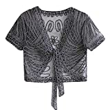 Yvelands Damen Sonnencreme Tops Schal Schnürknospe Siebdruck Blumen Weste Schulter Kurzarm Mesh Blouse Mantel Pullover Sweatshirt(Grau,Free)