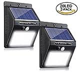 Solarleuchten für Aussen, Ailiebhaus 2Pack 20 LED 400 Lumen Superhelle 3 Modi Solarleuchte Garten, Solarlampe für Wände, Auffahrt Innenhof, Hof, Flur, Veranda