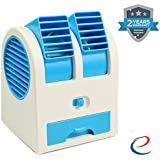 Energic Mini USB Cooler Portable Desk Table Fan For Office Home USB Electric Air Conditioning With Adjustable Dual Air Outlets (Assorted Colour)