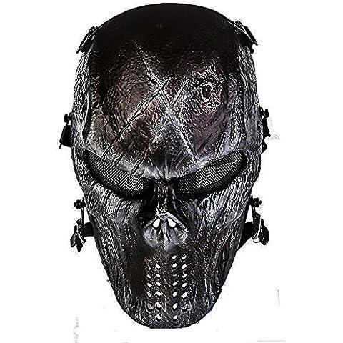 cqjdg exterior Full Face–Máscara Calavera Esqueleto Máscara para pistola de airsoft/Bb/Cs Juego y fiesta, Iron surface