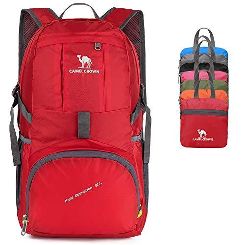 CAMEL CROWN 35L Faltbar Rucksäcke, Faltbare Wanderrucksack, Ultra-Leichter Tagesrucksack, Wasserdichter Packable Rucksack für Outdoor-Aktivitäten wie Wandern Klettern Reisen