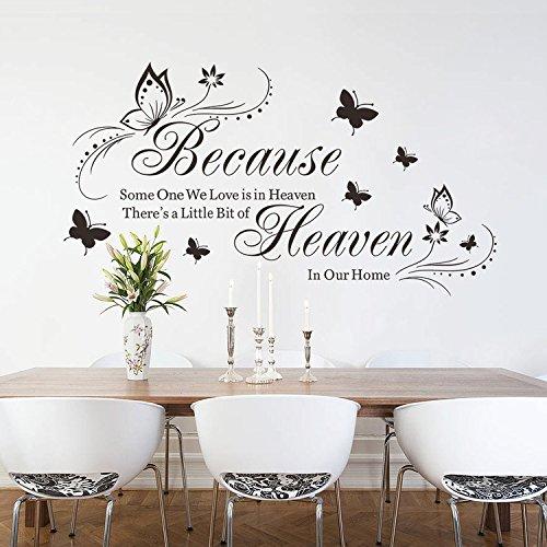 Ferris Store DIY Englisch Buchstabe Zitat Because We Love is in Heaven Schmetterlinge Wand Art Decor Schlafzimmer Wohnzimmer Wand Aufkleber 20,5x 37,4 Schwarz