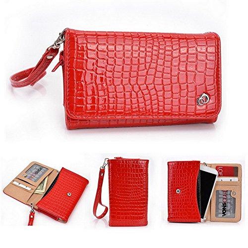 Kroo Croco Dragonne Étui portefeuille universel pour smartphone Vivo Y28Mobile Orange - orange rouge - rouge