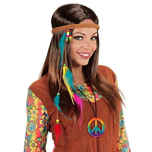 Indianer Kopfschmuck - bunt - Flower Power Haarband Pocahontas Haarschmuck Federschmuck 70er Jahre Kopfband Schmuck Kostüm Accessoire Damen Hippie Stirnband mit Federn