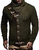 LEIF NELSON Herren Pullover Hoodie Strickjacke Sweatshirt Longsleeve Kapuzenpullover Jacke Sweatjacke Sweater LN4195; Größe S, Khaki