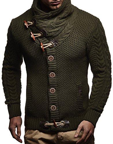 LEIF NELSON Herren Pullover Hoodie Strickjacke Sweatshirt Longsleeve Kapuzenpullover Jacke Sweatjacke Sweater LN4195; Größe XXL, Khaki