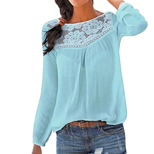 BHYDRY Frauen Casual Langarm Spitze Patchwork Tops Bluse(M,Blau)