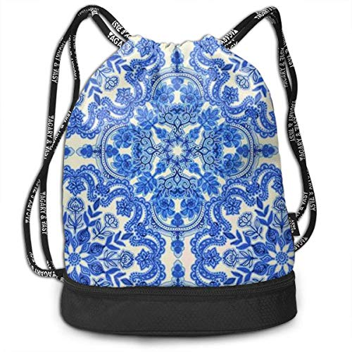 Rucksäcke,Sporttaschen,Turnbeutel,Daypacks, Funny Unisex Drawstring Beam Backpack Blue Folk Art Pattern Print Backpack -