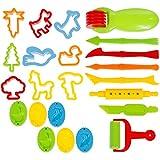 Goldge 23-Teilig Knetwerkzeug Knete Spielzeug Teig Platilin Zubehör Ausstecher Küchenspielzeug für kinder
