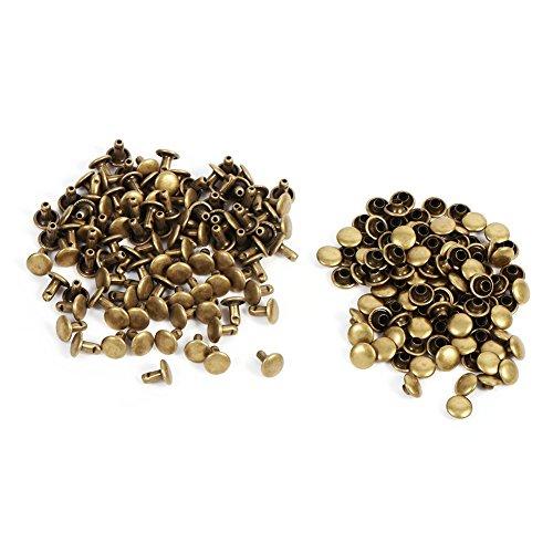3 Farben 100 Sätze Doppelkappe Niet Metall Lederhandwerk Reparaturen Nieten Spike Dekoration 8 × 8mm(Bronze) (Bronze-loafer)