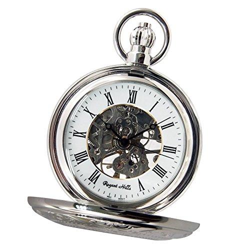 regent-hills-vintage-plata-mecanico-half-hunter-esqueleto-reloj-de-bolsillo-con-cadena-56-a66cp-w2