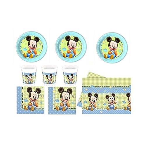 Baby Mickey Mouse Party Set (24 Becher, 24 Teller, 40 Servietten, 1 Tischdecke)