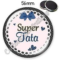 Magnet 56mm Super marraine aimant frigo id/ée cadeau anniversaire no/ël bapt/ême naissance communion