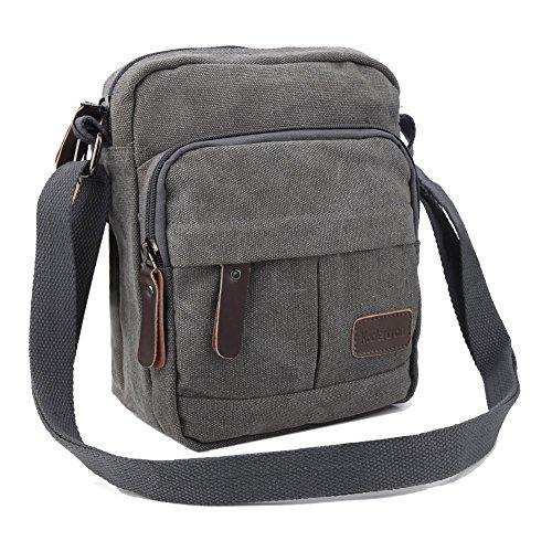 Koolertron Männer Retro Kleine Leinwand-Cross Body Handtasche 17.5x21x10 cm (grau)