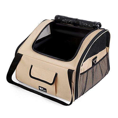 Amzdeal Faltbare Transportbox für Katzen und Hunde, Klappbare Autobox Reisebox    mit Rutschfester Unterseite und Breiter Handschlaufe, M: 42 x 36 x 33cm