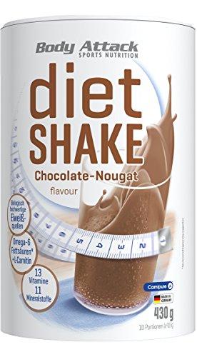 Body Attack Diet Shake, Chocolate-Nougat, 1er Pack (1 x 430 g)
