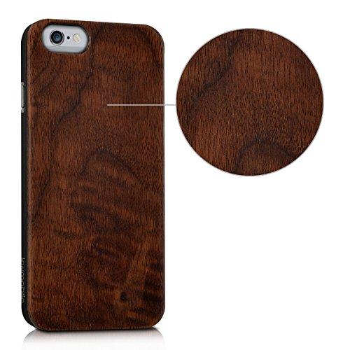 kwmobile coque de téléphone en bois pour Apple iPhone 6 / 6S case - smartphone étui de protection en bois en noyer brun foncé .noyer brun foncé