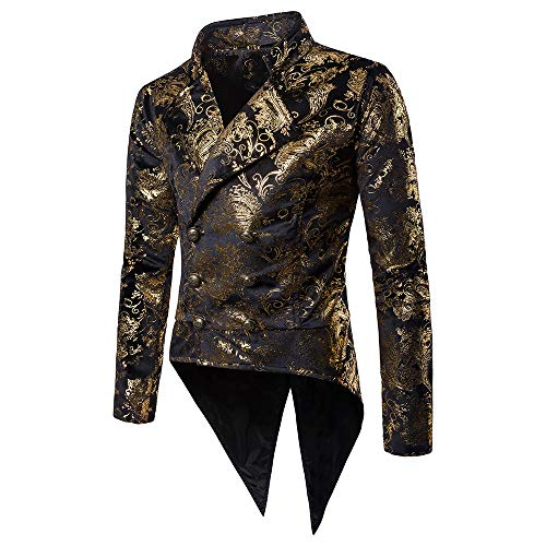 Smoking Männer Bunter Blazer Gentleman Anzug Jacke Slim Fit Glitzer Sakko Bankett Party Smoking Anzüge Mittellang Mantel Steampunk Gothic Feifish Vintage Einfarbig Langarmhemd