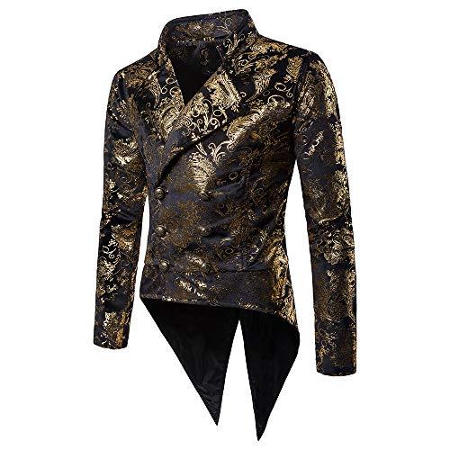 Battnot Herren Smoking Blazer Slim Fit Gold Muster Anzug, Männer Mantel für Hochzeit und Party Business Casual Jacke Knopf Suit Regular Fit Charm Mens Fashion Modern Top Coat Outwear Bluse S-2XL -