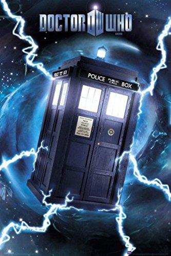1art1 59894 - Poster di Doctor Who, con immagine di Tardis, effetto metallizzato, 91 x 61 cm