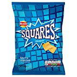 Walkers Squares Salt and Vinegar Snacks, 27.5 g, Pack of 32