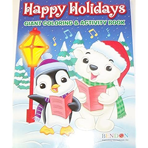 Happy Holidays 160 Page Giant Coloring and Activity Book ~ Christmas Edition (Animals Caroling) by Bendon - Happy Holidays Disegno