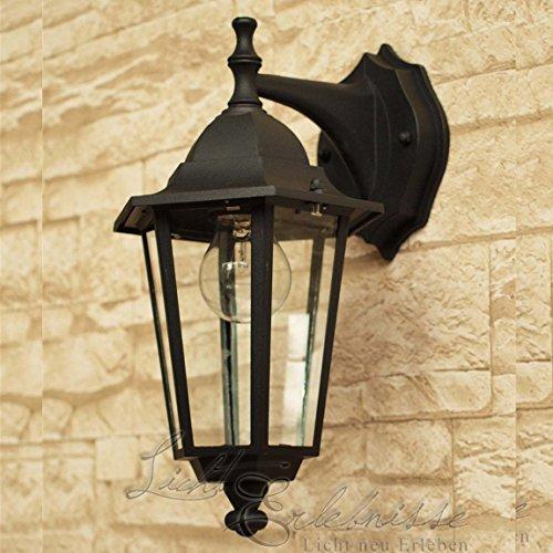 Schwarze LED Energiespar-Wand-Außenleuchte 6 Watt IP43 down aus Aluguss Außenlampe Wandleuchte Lampe Leuchte -