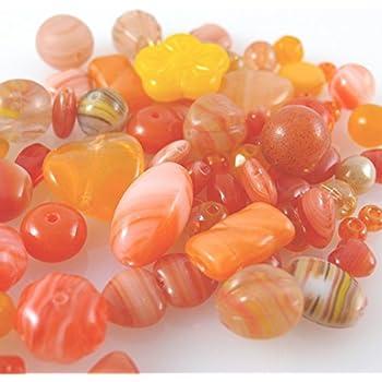 60 Glasperlen Mix Perlenmix orange Glas Perlen basteln