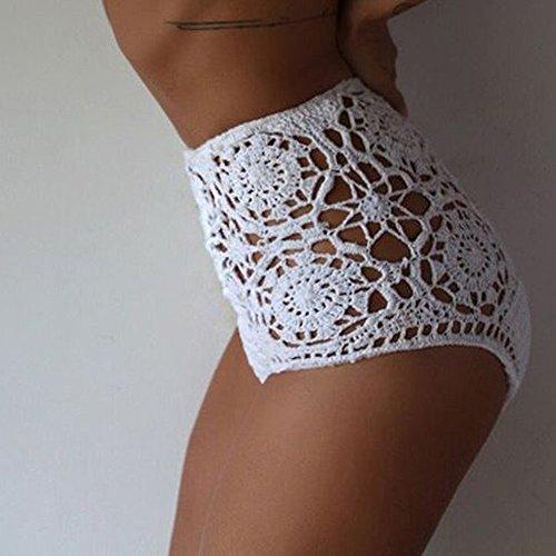 Hunpta Frauen stricken trägerlosen Bikini Set Bademode BH Badeanzug Bademode Weiß