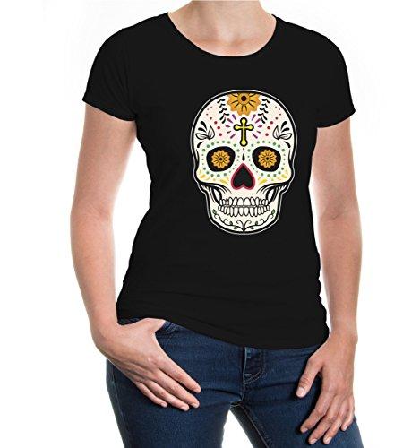 buXsbaum® Girlie T-Shirt Calavera de Dulce-Totenschädel Black-z-direct