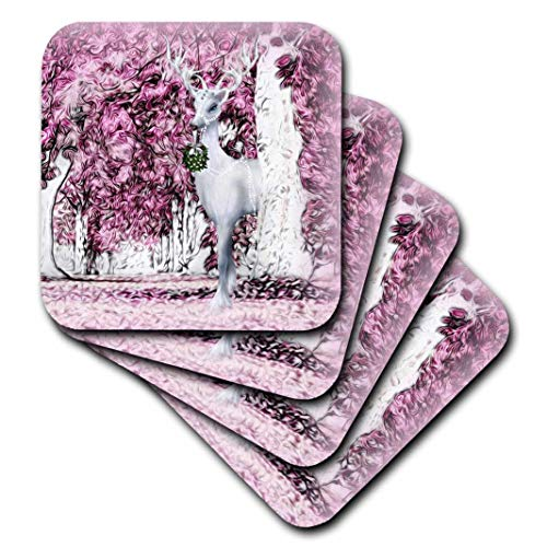 Doreen Erhardt Christmas Collection - Weiß Rentier und Hase Woodland Kreaturen in pink Enchanted Forest - Untersetzer, Gummi, rose, set-of-4-Soft