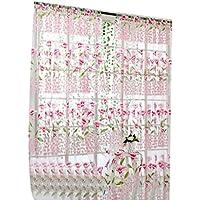 ZARLLE (200 cm x 100 cm) Morning Glory Sheer Curtain Tulle Tratamiento de ventanas Voile Drape Valance