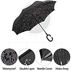 Manfâ Paraguas invertido Innovador, Paraguas invertido Doble de la Capa,Paraguas Reverso de los Coches creativos Rectos Impermeables y Parados Rain Drops ...