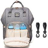 Baby Wickelrucksack Wickeltasche Reise Rucksack, Mama Rucksack Reisetasche, Isolierte Tasche, Wasserdicht Stoffe, Multifunktional, Passform für Kinderwage, Große Kapazität Modern Einzigartig Tragbar Handtasche Organizer (Grau 1)