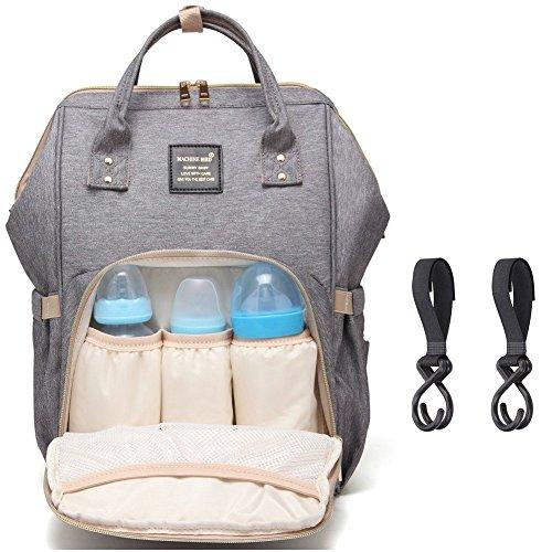 Baby-rucksäcke (Baby Wickelrucksack Wickeltasche Reise Rucksack, Mama Rucksack Reisetasche, Isolierte Tasche, Wasserdicht Stoffe, Multifunktional, Passform für Kinderwage, Große Kapazität Modern Einzigartig Tragbar Handtasche Organizer (Grau 1))