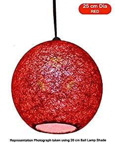 Salebrations 25 cm Dia Red Hanging Ball Lamp Shade With Yarn And Led Bulb