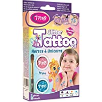 Glitter Tattoo Kit for Girls with 15 amazing Horses and Unicorns stencils - HYPOALLERGENIC AND CRUELTY FREE - 8-18 lasting temporary tattoos