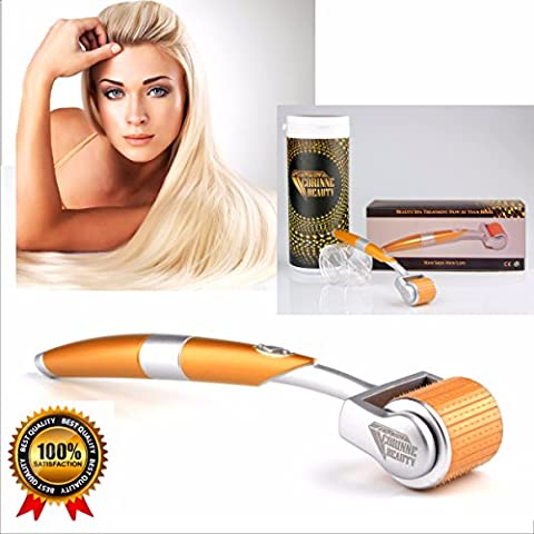 Neuf Luxe Derma Roller 192Titanium Micro Aiguilles pour le traitement des Rides et ridules, les pores, l'acné cicatrices, soleil, dommages et Hyper pigmentation, les cicatrices, la cellulite et les vergetures, perte de cheveux–favorise la Production d'élastine et de collagène de la peau du visage, les lèvres, les yeux, du cou et du corps–Effet Laser (0,5mm)