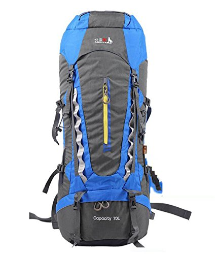borse alpinismo esterno 70L trekking uomini e donne zaino da viaggio spalla sport impermeabile zaino da campeggio ( Colore : Nero , dimensioni : 70L ) Blu zaffiro