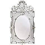 Venetian Image Decorative Wall Mirror For Living Room Entrance Makeup Bathroom | Mirror Glass Stylish Frame | Silver With Free Specs Stand And Wooden Games